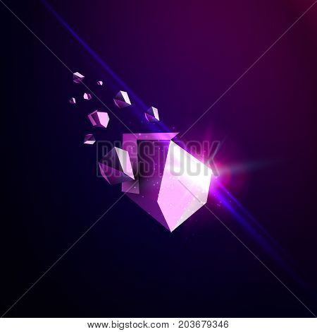 Falling beauty stone, space debris, violet collapsing asteroid, vector 3D illustration. Isolated unusual logo template