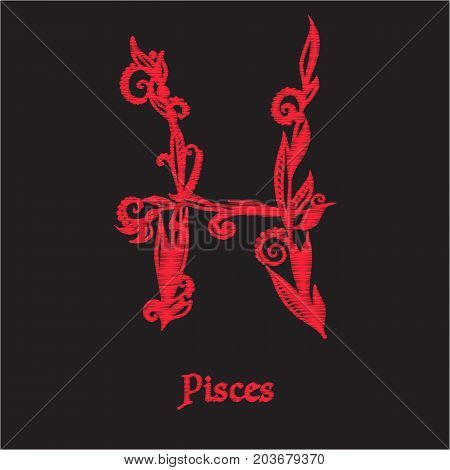 Embroidery with zodiac sign. In red on black background.  Stock line vector illustration.