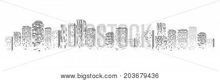 Vector isolated silhouette of big city town, skyscrapers building, business centers. Twilight, blue sunset, panorama of the city on the horizon, urban design vector illustration
