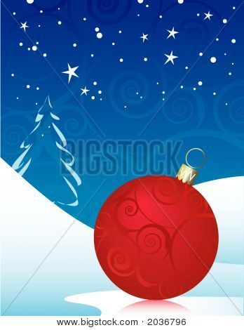 Red Swirly Christmas Ornament