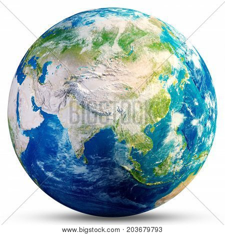 Planet Earth - Asia. Elements of this image furnished by NASA. 3d rendering