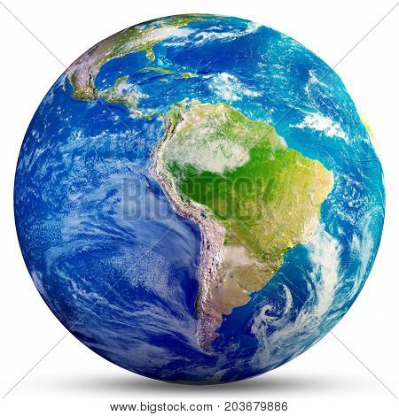 Planet Earth - South America. Elements of this image furnished by NASA. 3d rendering