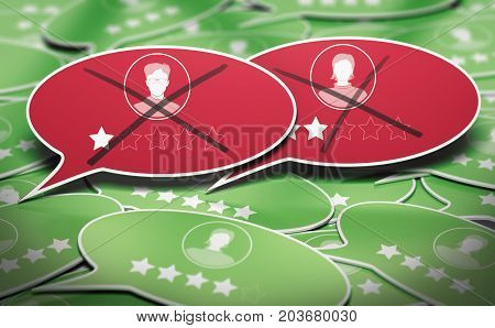 3D illustration of many speech bubbles with two negative business reviews removed. Concept of online reputation management.