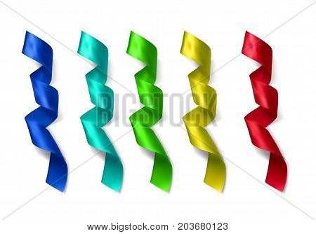 Silk vector colorful ribbins made with gradient mesh isolated on white background.