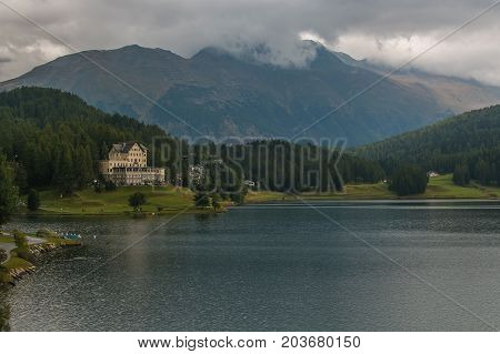 Beautiful view of Sankt Moritz lake, Upper Engadine, Canton of Graubunden, Switzerland