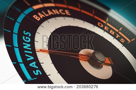 3d illustration of a financial indicator with the needle pointing to savings word. Concept of paying off debt and save money