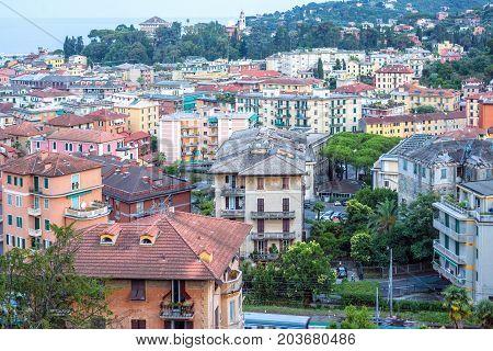 Beautiful sunset view to Santa Margherita Ligure city buildings in Italy