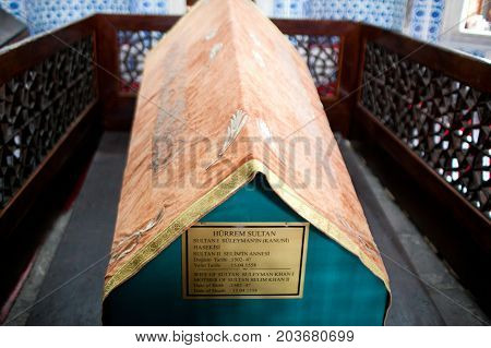 ISTANBUL, TURKEY - OCTOBER 29, 2015: Haseki Hurrem Sultan tomb in Suleymaniye Mosque at Fatih, Istanbul. The Suleymaniye Mosque built on the order of Sultan Suleyman the Magnificent.