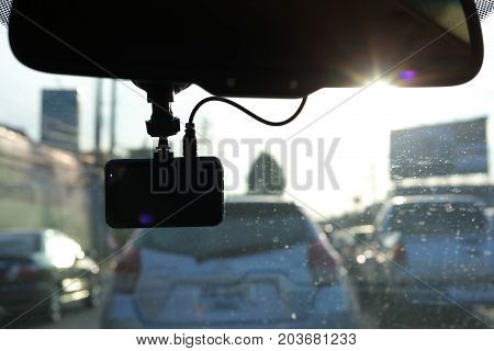 Black Video Camera Record Technology On Windscreen Vehicle Car Driving