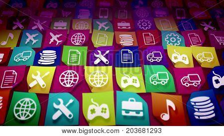 Mobile Application Icons Shot Askew