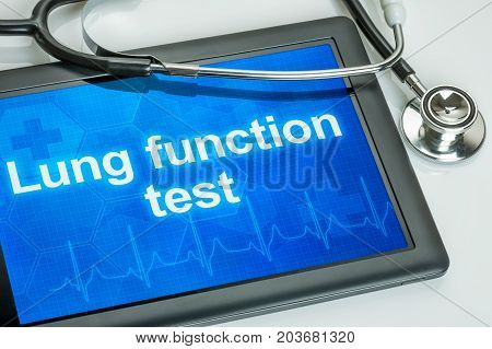 Tablet with the text Lung function test on the display