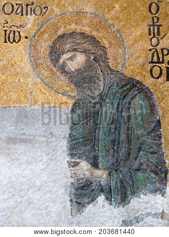 ISTANBUL, TURKEY - OCTOBER 30, 2015: Deesis - Byzantine mosaic in Hagia Sophia church showing John the Baptist (Ioannes Prodromos) probably dates from 1261