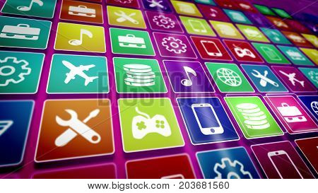 Mobile Application Icons Taken Diagonally