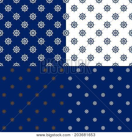 Set of Maritime Backgrounds Seamless Marine Pattern with Ship's Wheel Travel and Tourism Concept Vector Illustration