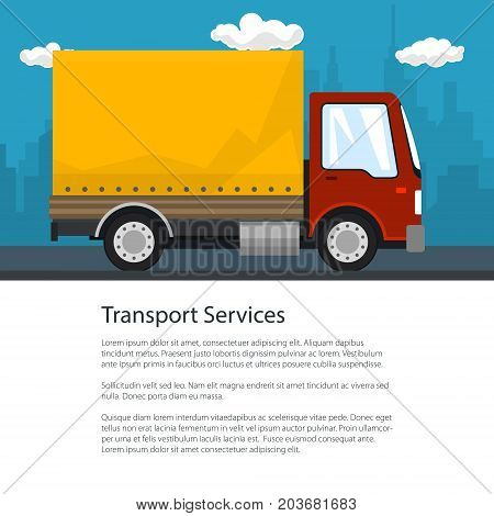 Flyer Transportation and Cargo Services Red Orange Cargo Delivery Truck on the Background of the City and Text Shipping and Freight of Goods Poster Brochure Design Vector Illustration