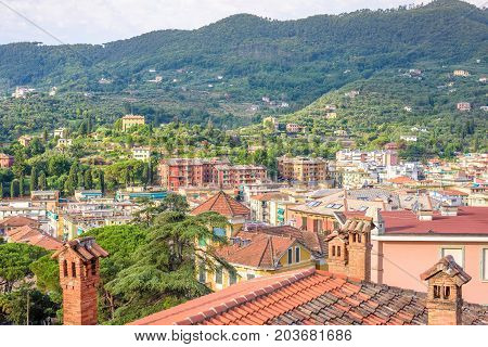 Morning view from above to cloudy day in Santa Margherita Ligure city in Italy