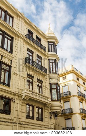 Yellow Plaster Condo Building in Valencia Spain
