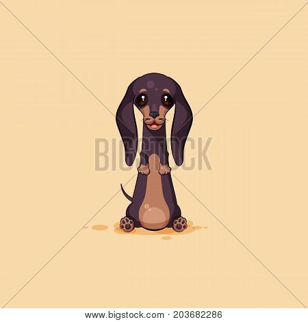 Vector stock illustration emoji of cartoon character dog talisman, phylactery hound, mascot pooch, bowwow dachshund sticker emoticon German badger-dog sitting with smile emotion design element