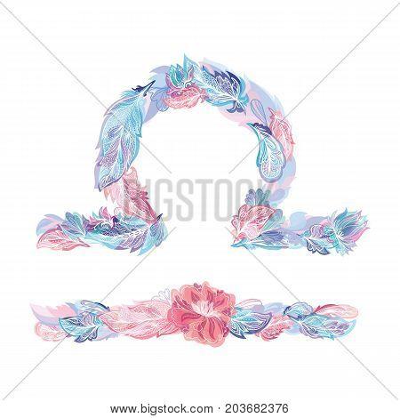 Horoscope symbol made of tribal decorative feathers in boho style