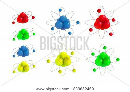 Abstract Atoms structure. 3d vector protons neutrons and electrons. Science concept. Big set