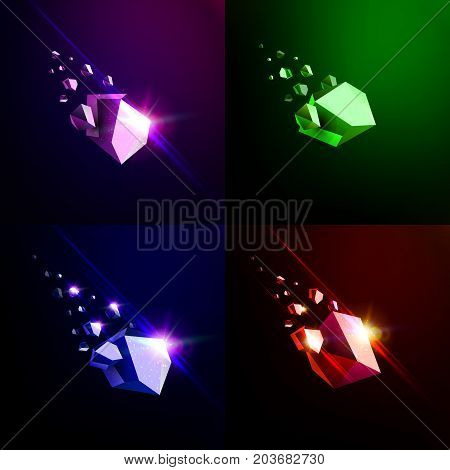 Falling beauty stone, collapsing asteroid, vector 3D illustration. Isolated unusual logo template.