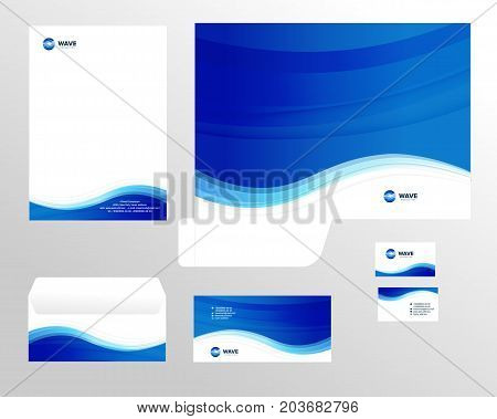 Corporate identity template design, visual marketing brand, business identity set. Card, letterhead, envelope, folder style company vector illustration.