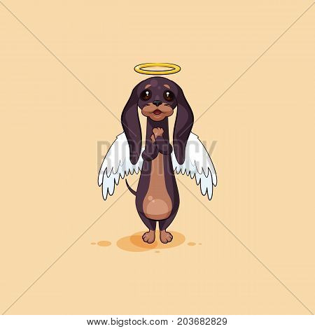 Vector stock illustration emoji of cartoon character dog talisman, phylactery hound, mascot pooch, bowwow dachshund sticker emoticon German badger-dog angel, wings halo, praying emotion design element poster