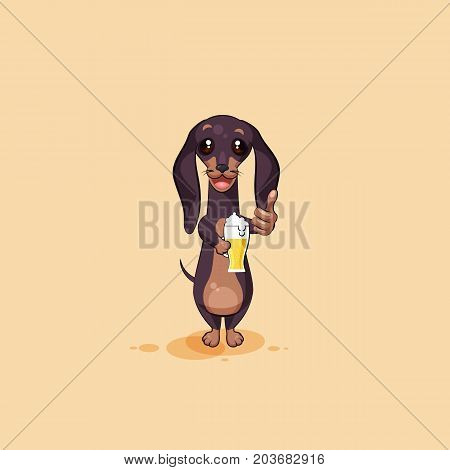 Vector stock illustration emoji of cartoon character dog talisman, phylactery hound, mascot pooch, bowwow dachshund sticker emoticon German badger-dog cheer up toast with beer emotion design element