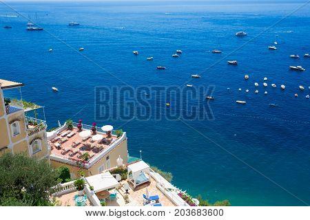 Tyrrhenian Sea waters near Positano, aerial view , Amalfi coast Italy
