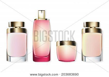 Perfume Cosmetics set Vector realistic mock up. Eau de toillete golden bottle Perfect for advertising, flyer, banner, poster. 3d illustrations