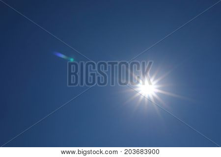 Sun Light On Clear Blue Sky