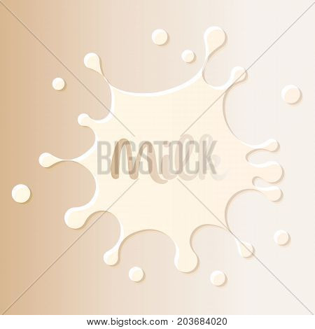 Milk stain logo, white blot on milky color background. Dairy product design element template, vector illustration