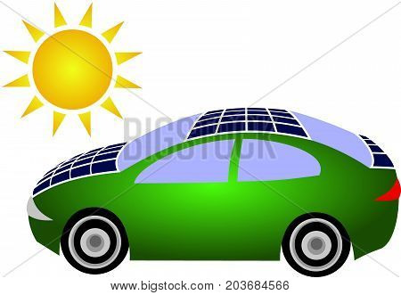 Ecological green car with solar panels on the roof and hood