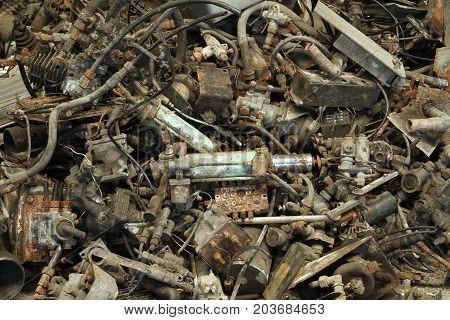 Pile of metal scrap of machine part