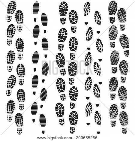 Black Footprints Silhouette Set Texture Pattern Men and Women Pairs Shoes. Vector illustration of Foot Print