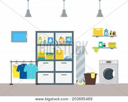 Cartoon Interior Laundry Room With Furniture Washing Machine And Basket  Housework Concept Flat Design Style.