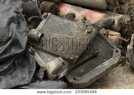 Pile of car intercooler wait for recycle