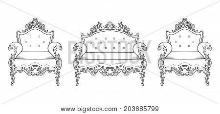 Armchair furniture with luxurious ornaments. Vector French Luxury rich intricate structure. Victorian Royal Style decors