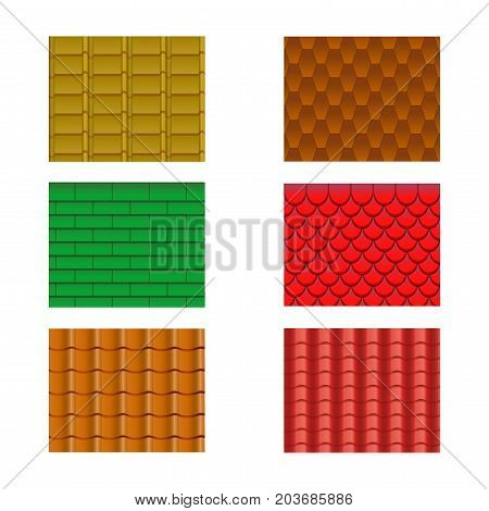 Color Roof Tiles Set Construction Material Pattern Texture Collection Component Slate Waterproof. Vector illustration of Roofing Materials