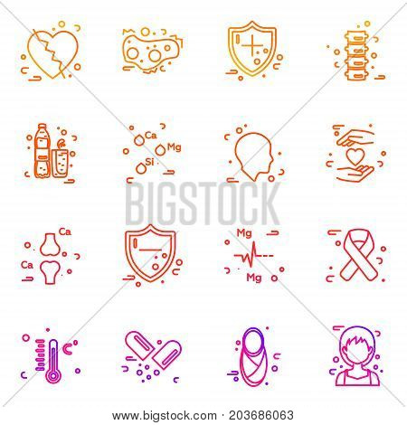 Set of medical icons, thin line style, vector illustration