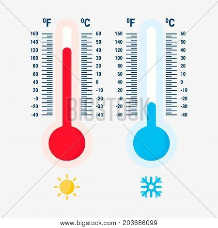 Thermometer equipment showing hot or cold weather.Thermometers measuring heat and cold, vector illustration.