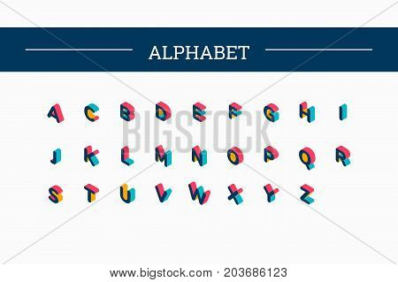 Isometric vector color alphabet / Letter and 3d alphabet, alphabet letters, font and numbers, kids alphabet, abc and typography, type geometric text, typographic lettering illustration