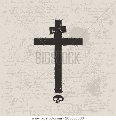 Vector sign of dark cross with a skull and spray droplets on the background of manuscript with blots in grunge style