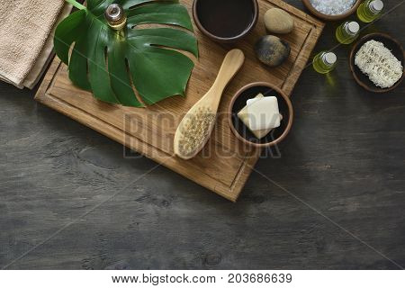 Spa natural cosmetics spa background with a space for a text flat lay overhead view