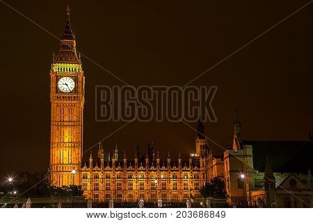 London, UK, September 8, 2007 : Big Ben of the Houses of Parliament at night which is one of the most popular tourist attraction of the city