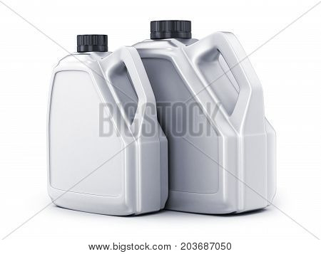 Two white canisters on white background. 3d illustration