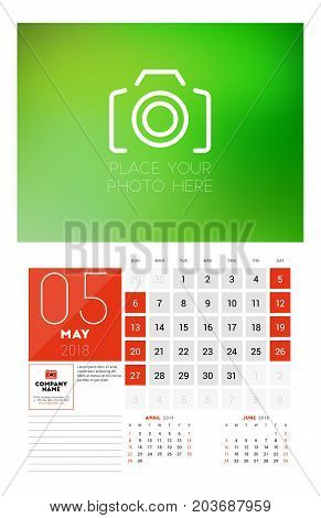 Wall Calendar Template For 2018 Year. May. Vector Design Print Template With Place For Photo. Week S