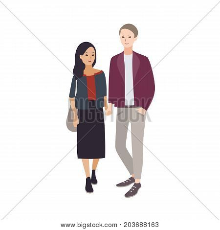 Pair of young man and woman of different nationalities dressed in stylish clothing standing and holding each other s hands. Interracial relationship. Flat cartoon characters. Vector illustration