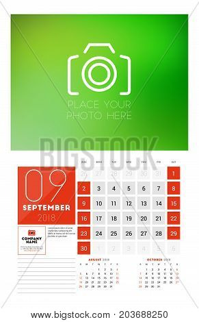 Wall Calendar Template For 2018 Year. September. Vector Design Print Template With Place For Photo.