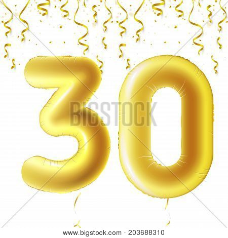 Inflatable golden balls with falling confetti and hanging ribbons. Thirty years, symbol 30. Vector illustration, logo or poster for thirtieth birthday celebrating